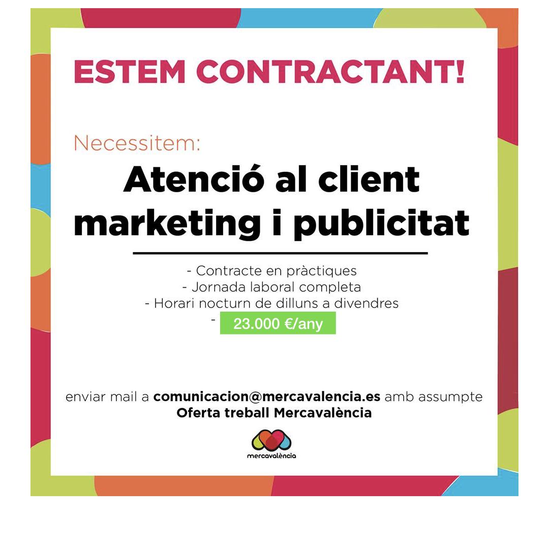 Oferta de treball – Atenció al Client, Marketing i Publicitat