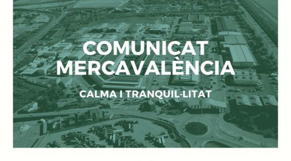 Comunicat Mercavalència: Calma i tranquil·litat front al COVID-19