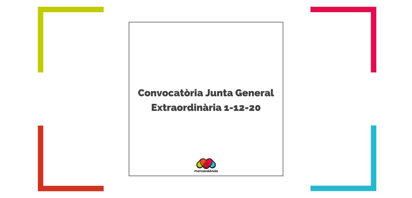 Convocatòria Junta General Extraordinària 1-12-20