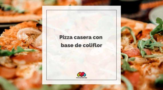 Pizza casera con base de coliflor